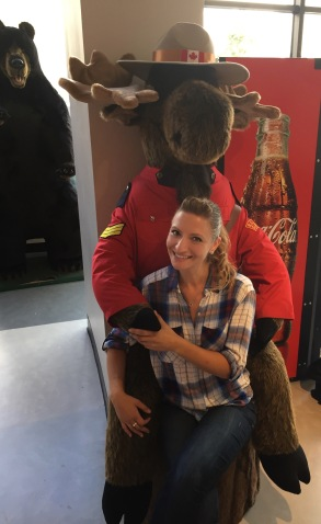 Being a tourist - with my new friend Mr. Moose Mountie